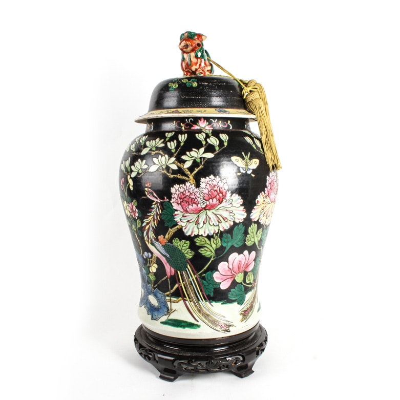 Chinese Painted Ceramic Urn on Stand