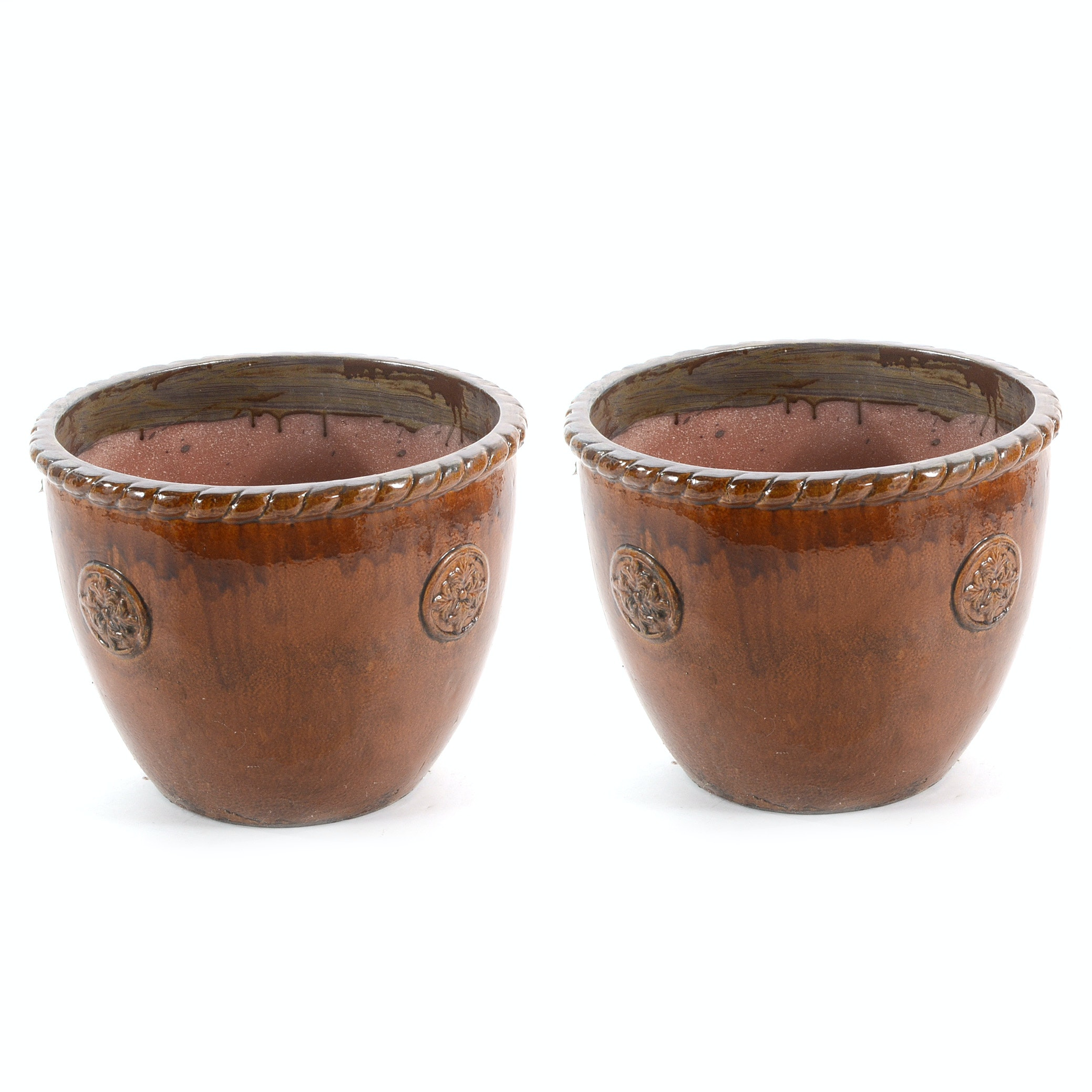 Brown Glazed Garden Planters by Paradise Pottery