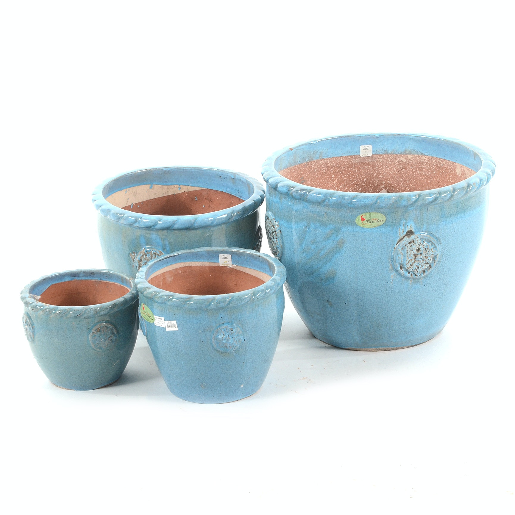 Turquoise Blue Glazed Garden Planters by Paradise Pottery