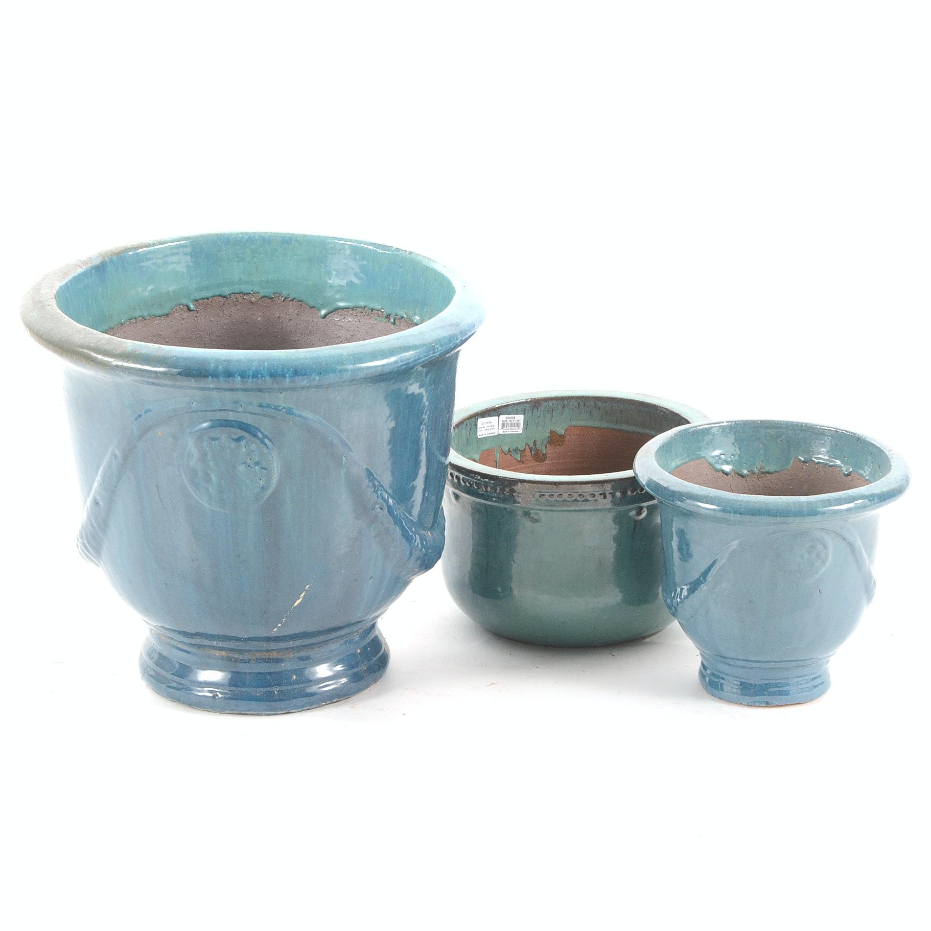 Turquoise Blue Glazed Garden Planters