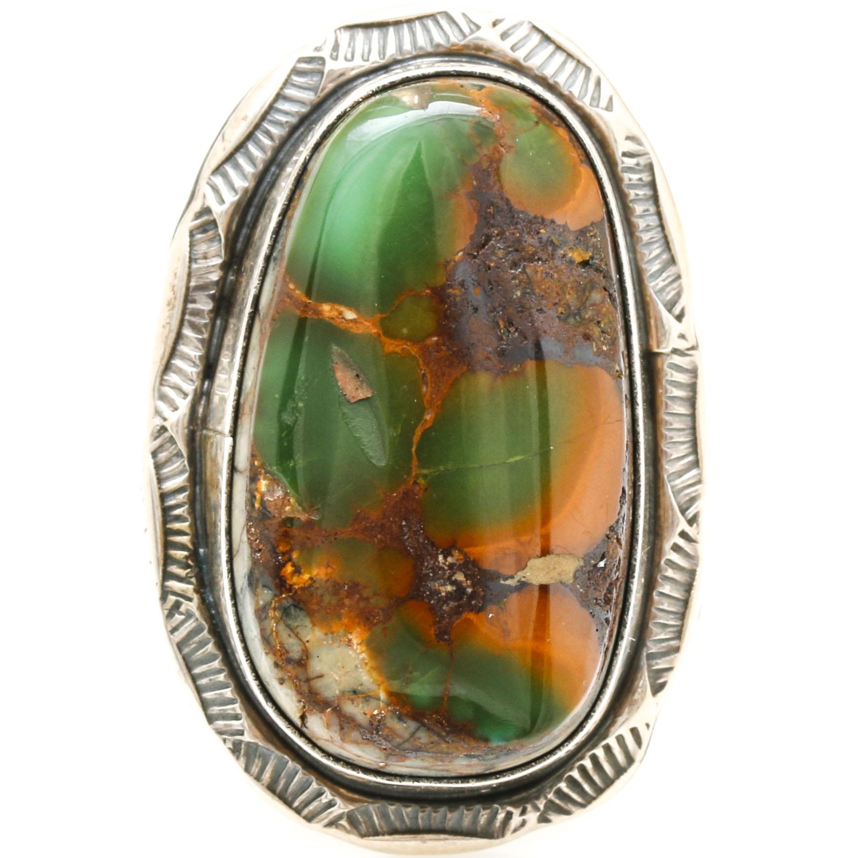 Tom Sam Navajo Sterling Silver Boulder Turquoise Ring