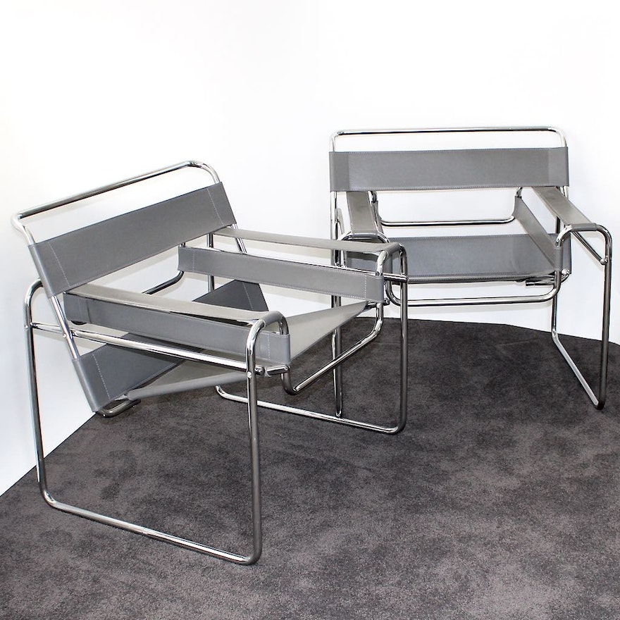 gray leather and chrome wassily chairs ebth
