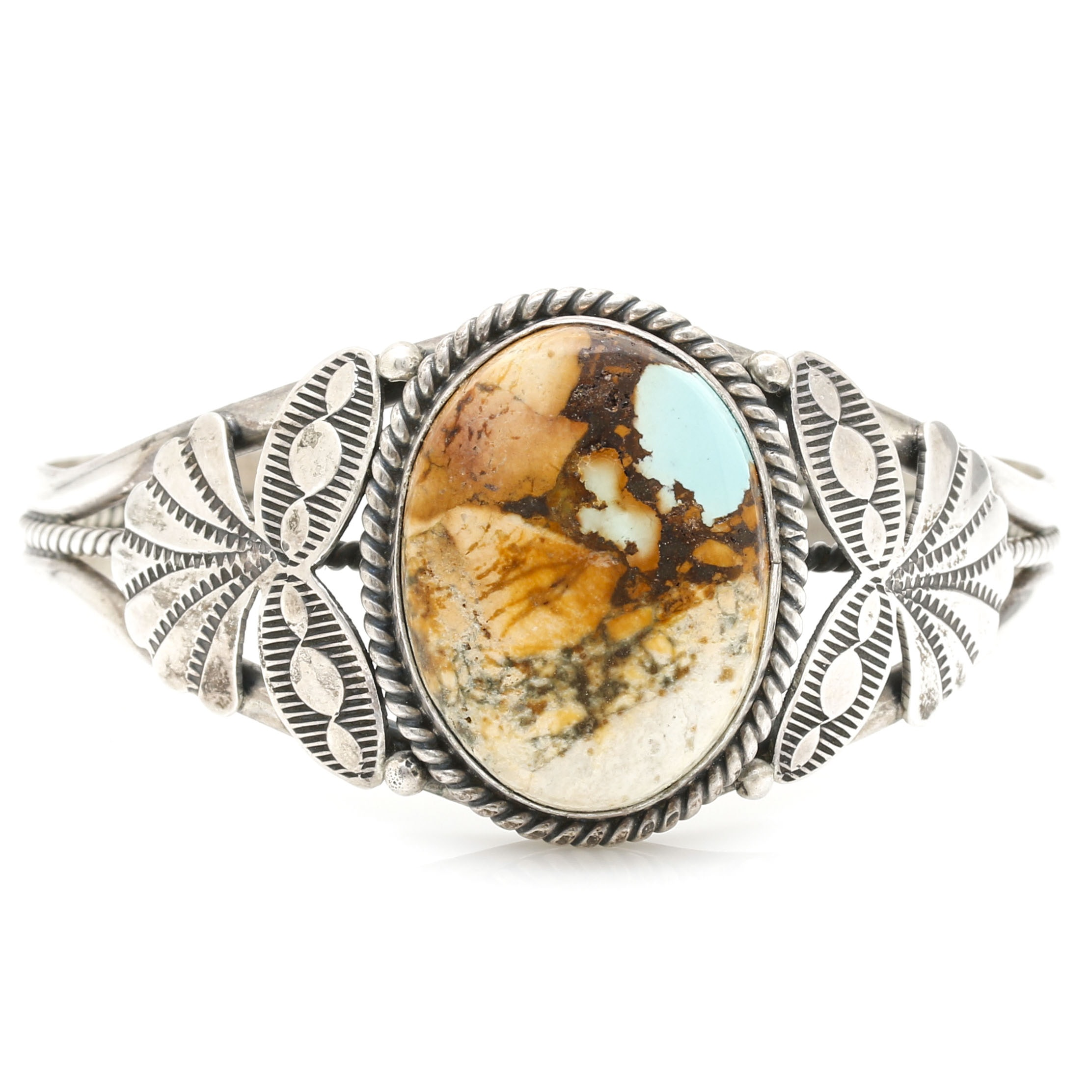 Mary Ann Spencer Sterling Silver Boulder Turquoise Cuff Bracelet