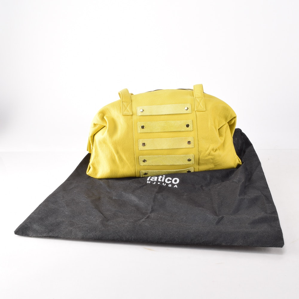 Lemon Yellow Leather Shoulder Bag by Latico