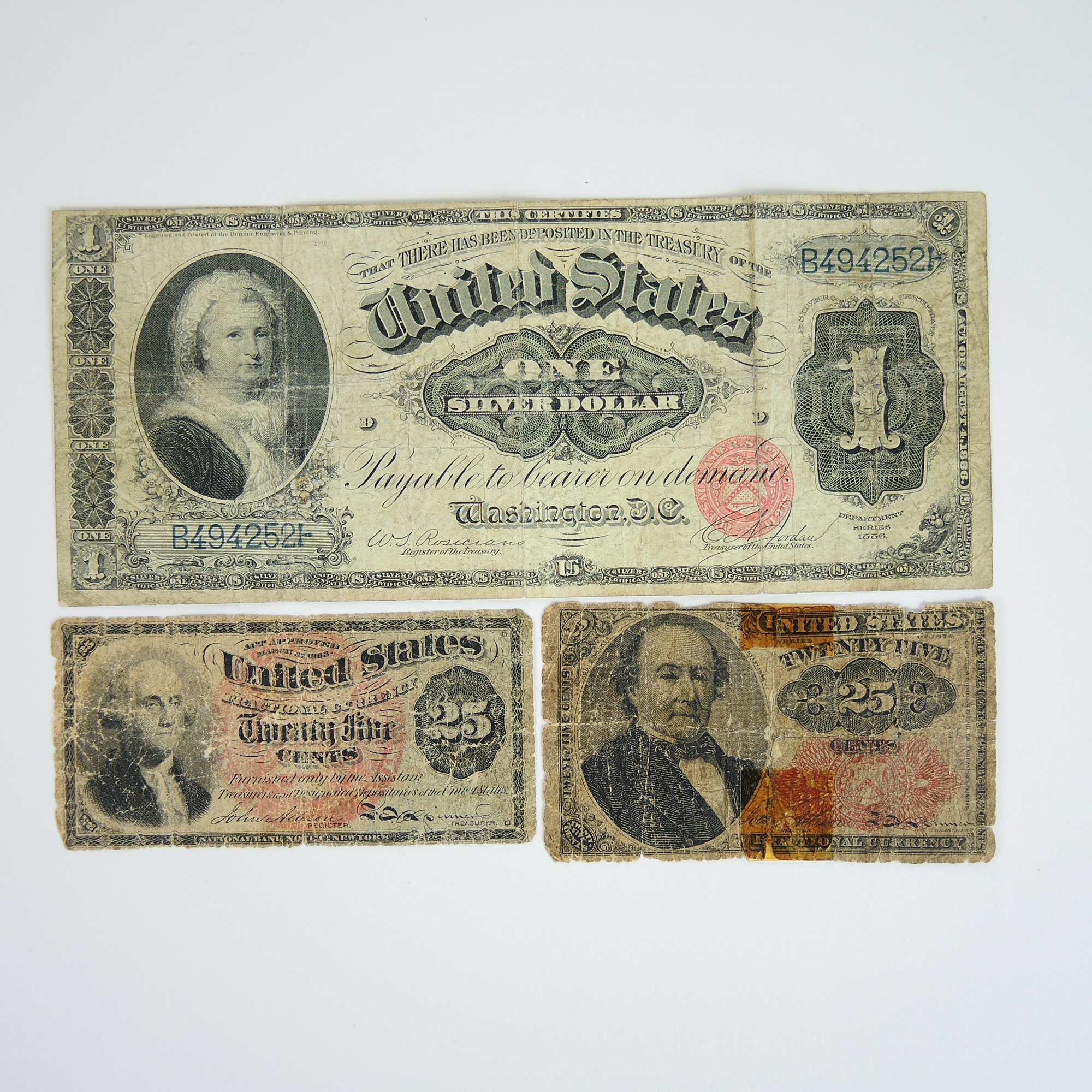 One Dollar 1886 Silver Certificate and Fractional Currency Notes