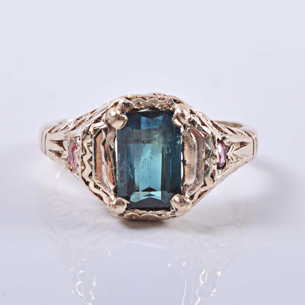 Victorian 14K Green and Pink Tourmaline Ring