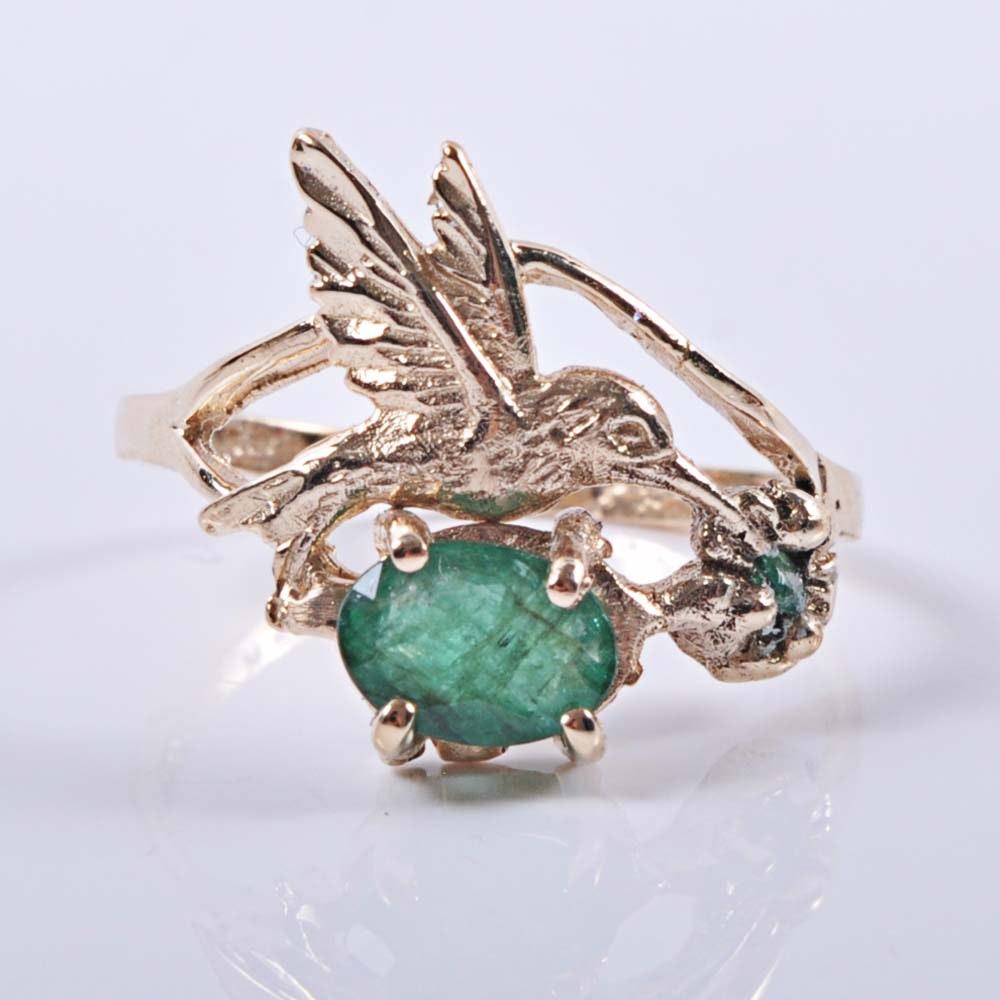 14K Gold Emerald Hummingbird Ring