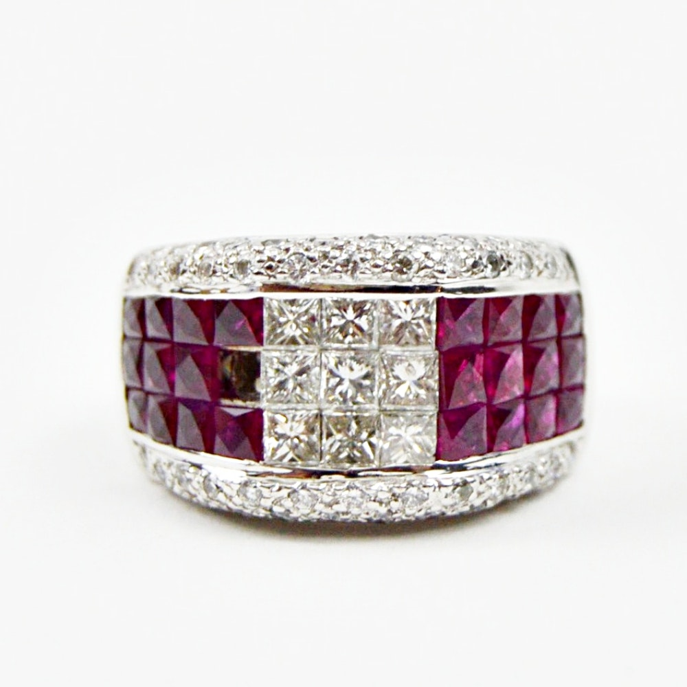 18K Gold, Ruby and 1.74 CTW Diamond Ring