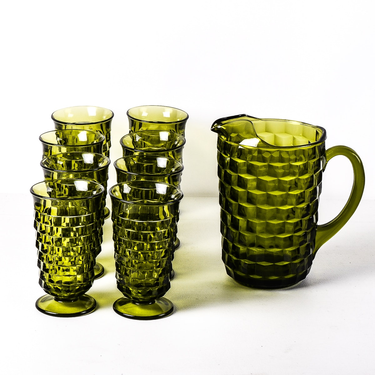 Indiana Glass Whitehall Cubist Pitcher and Tumbler Set
