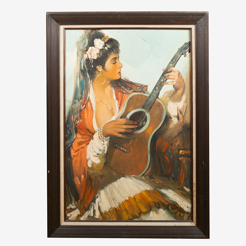 Oil on Canvas Painting of Woman with Guitar