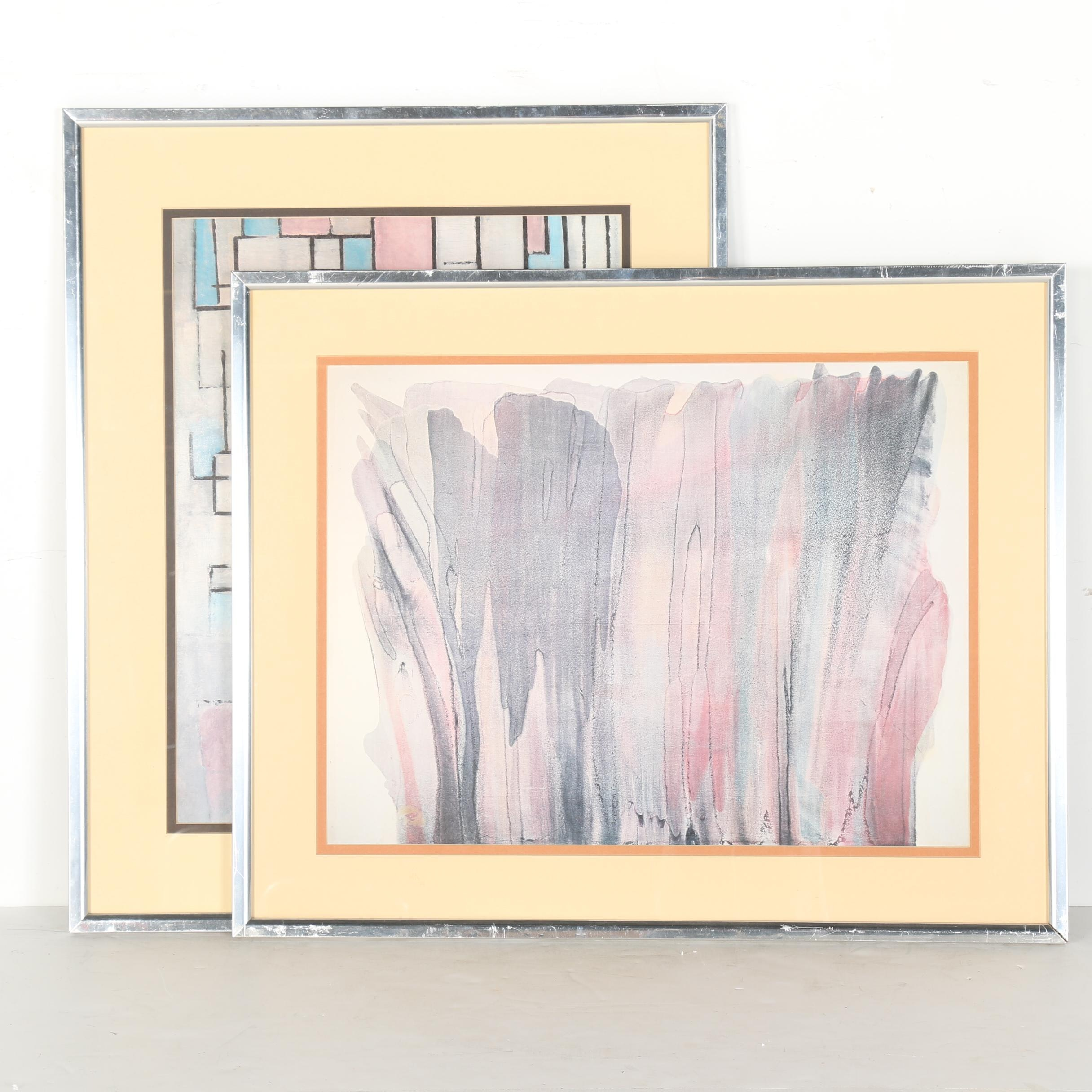 After Piet Mondrian and Morris Louis Abstract Offset Lithographs
