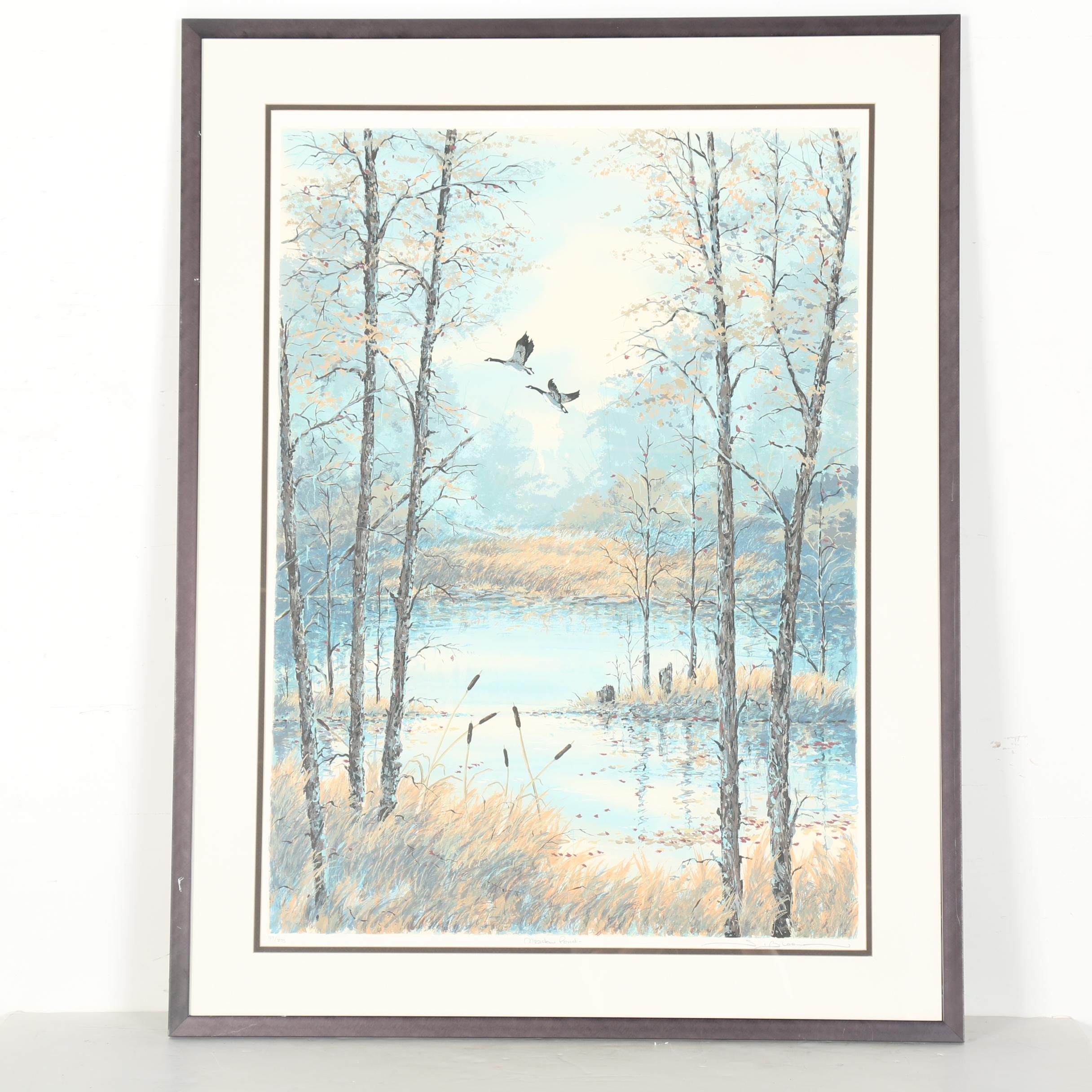 """S. Bloom Limited Edition Serigraph """"Meadow Pond"""""""
