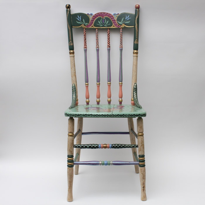 Folk Art Hand-Painted Side Chair