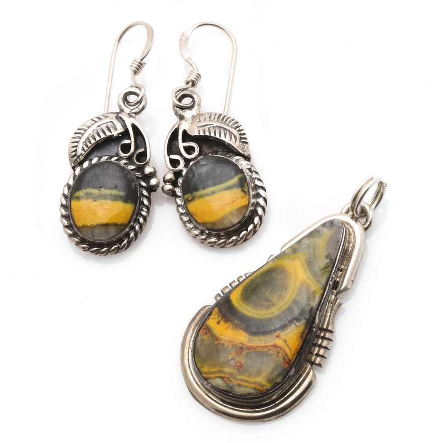 48adb80b3 Arkie Nelson and Johnny King Sterling Silver Bumblebee Jasper Jewelry ...