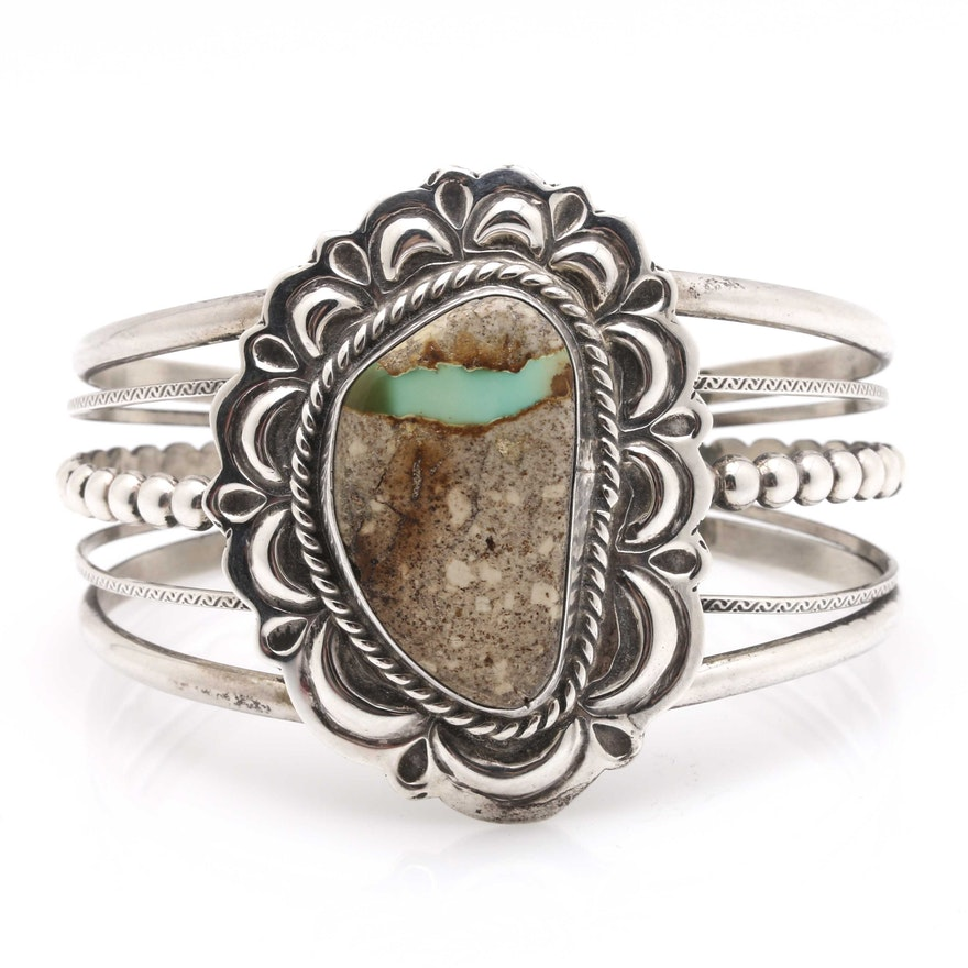 Sterling Silver Boulder Turquoise Cuff Bracelet   EBTH