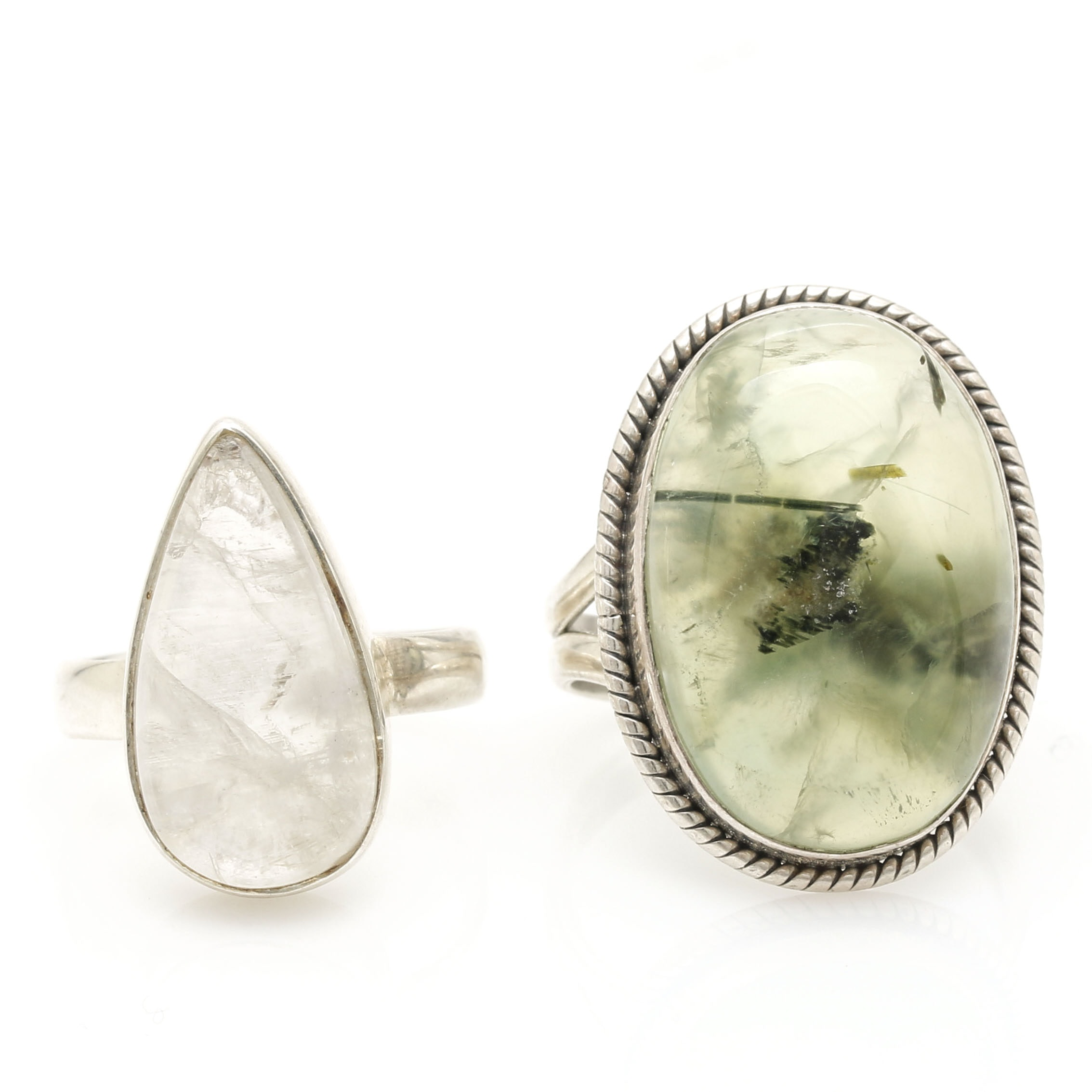 Sterling Silver Moonstone and Tourmalinated Green Tourmaline Rings