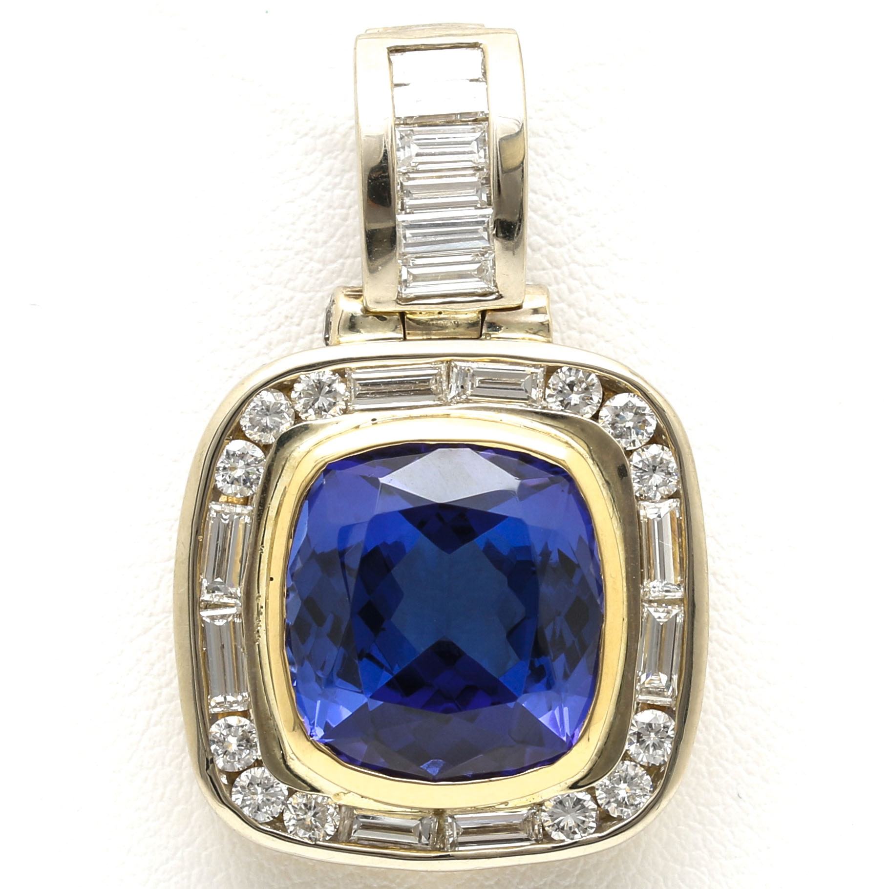 14K and 18K Two Toned Gold 9.07 CTS Tanzanite and 1.78 CTW Diamond Enhancer Pendant