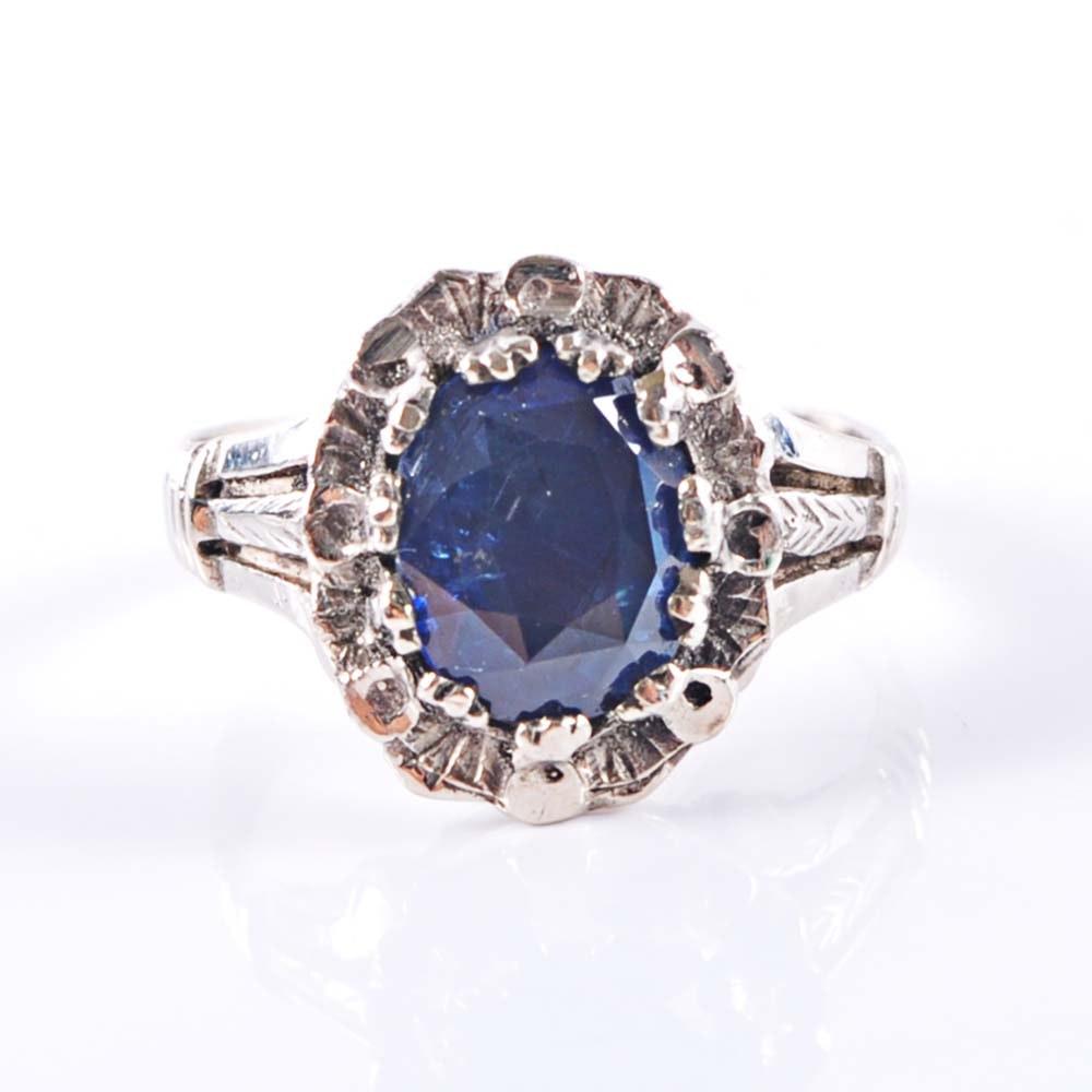14K Yellow Gold 1.75 Carat Sapphire Ring