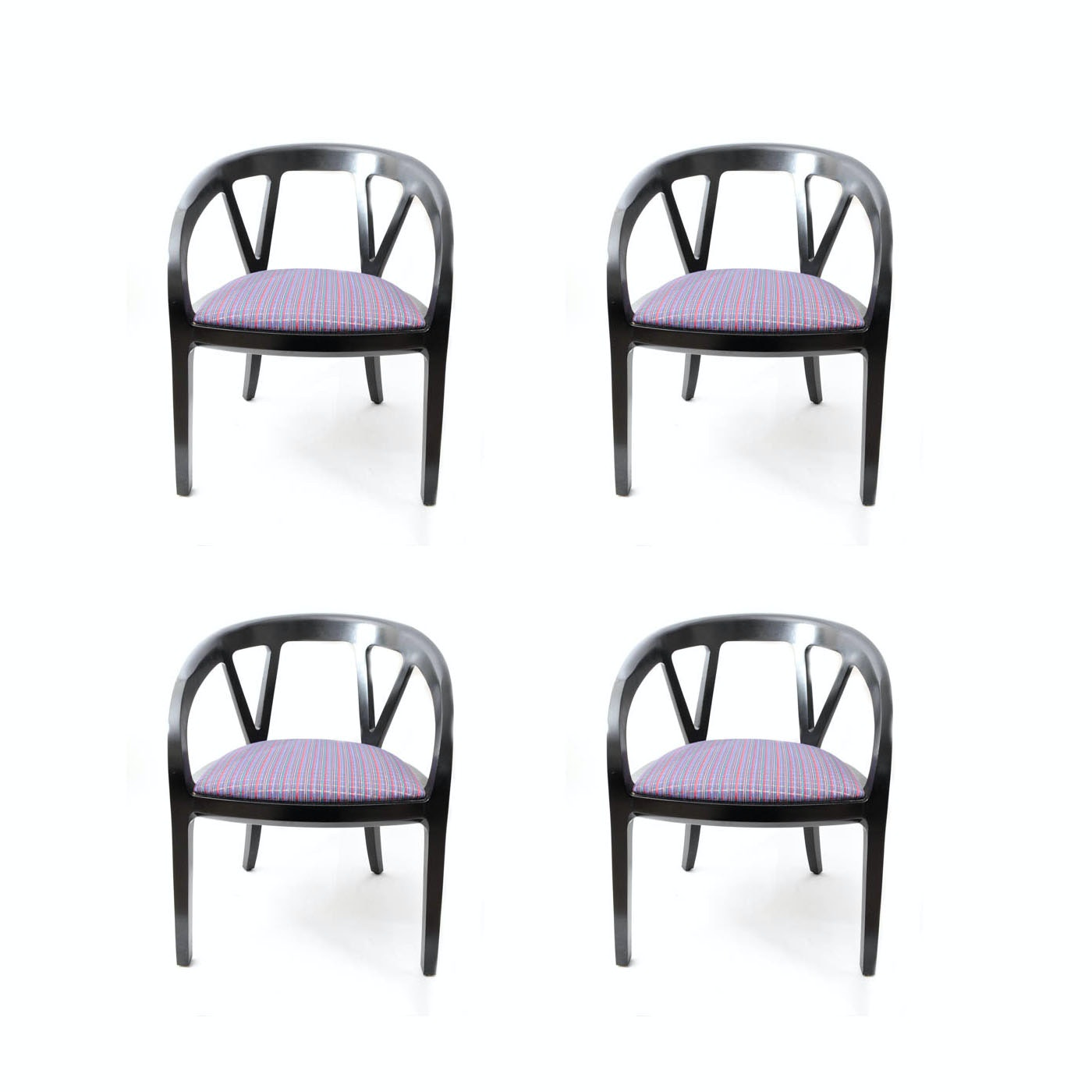 Set of Four Wooden Upholstered Wishbone Chairs