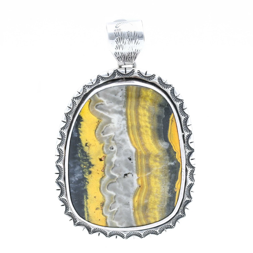 0a883d87b Ted Secatero Navajo Sterling Silver Bumblebee Jasper Pendant : EBTH