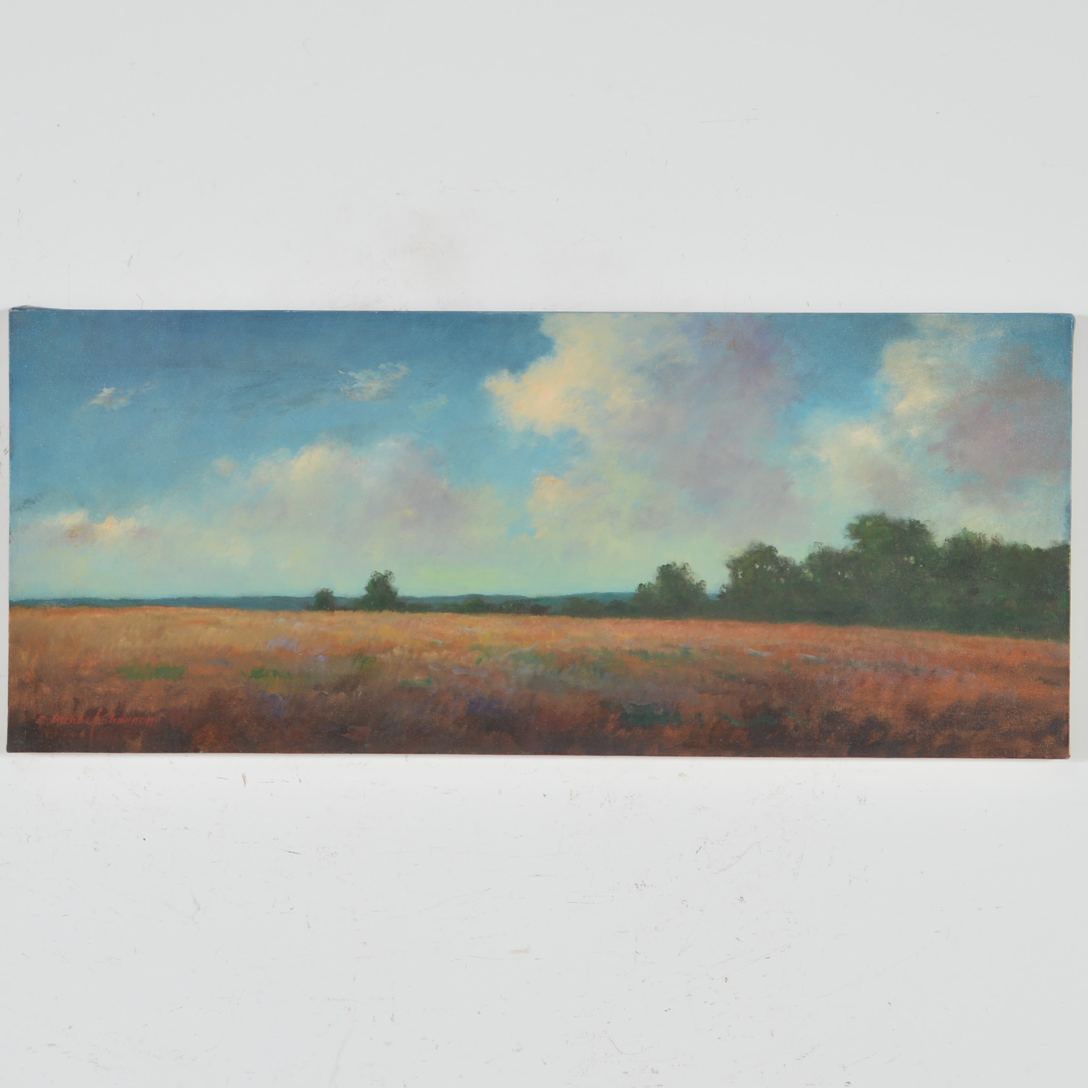 R. Michael Shannon Oil Painting of Pasture Scene