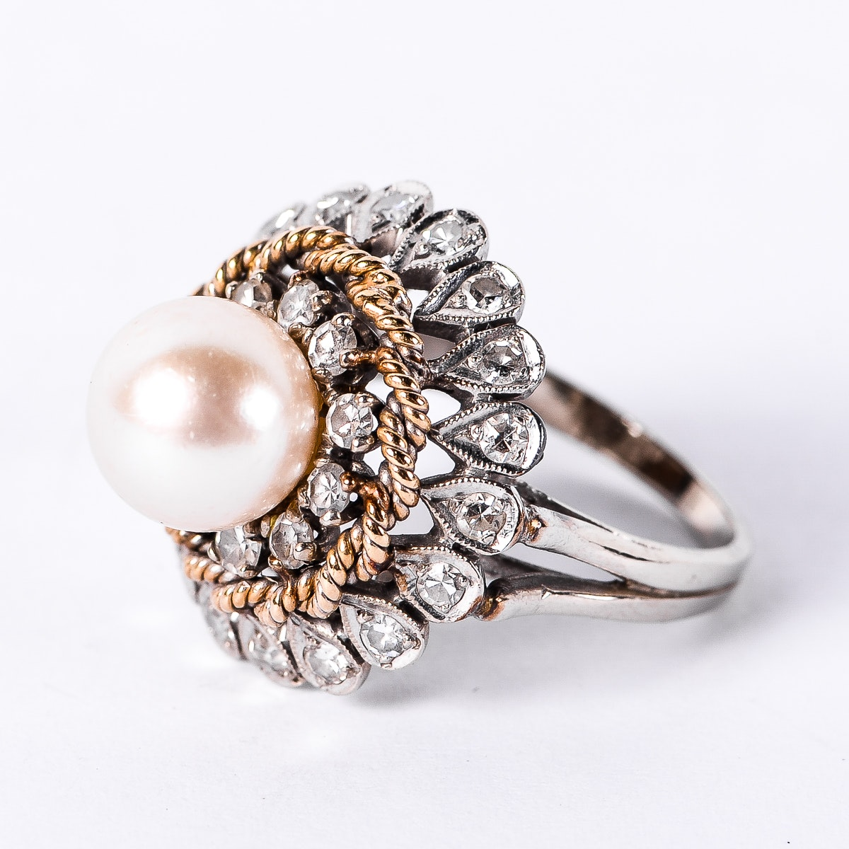 14K Two-Tone Gold, Cultured Pearl, and Diamond Cocktail Ring