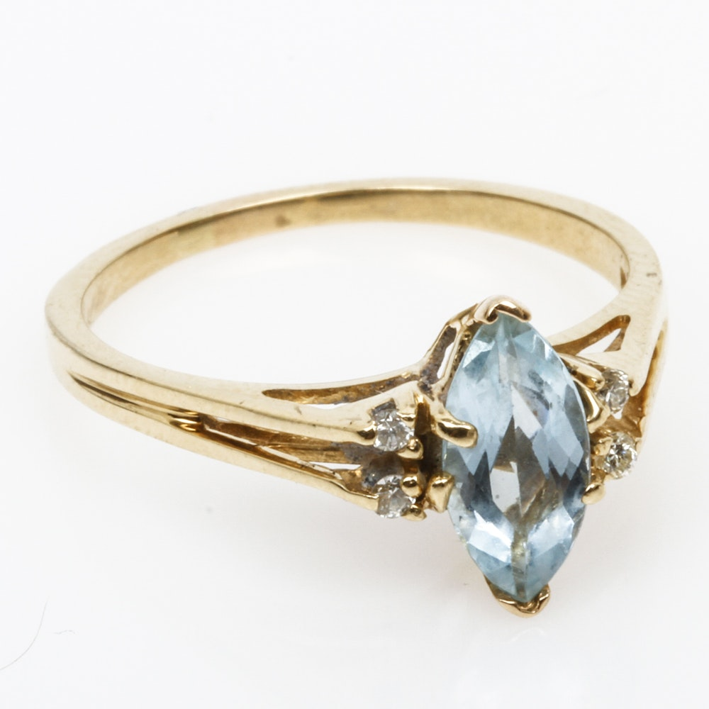 14K Yellow Gold, Aquamarine, and Diamond Cathedral Ring