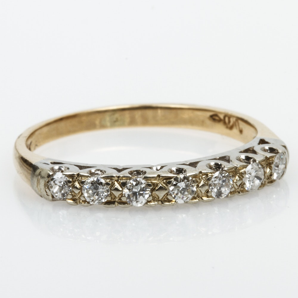Vintage 14K Two-Tone Gold and Old European Cut Diamond Band