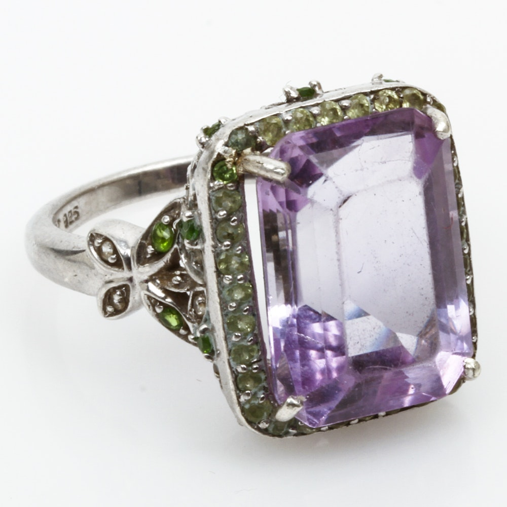 Sterling Silver, 11.00 CTS Amethyst, Peridot, and Green Quartz Statement Ring