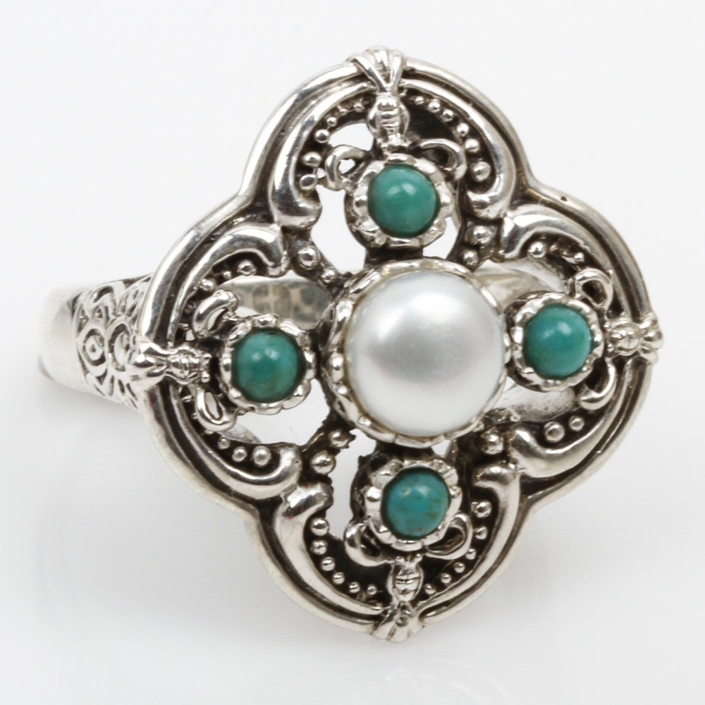 Sterling Silver, Freshwater Pearl, and Turquoise Quatrefoil Ring
