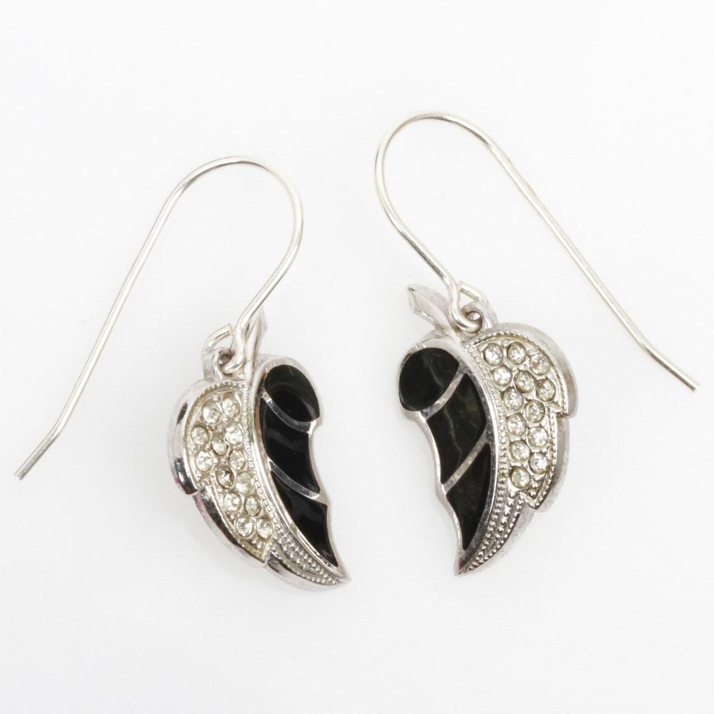 Sterling Silver, Black Enamel, and Rhinestone Leaf Earrings
