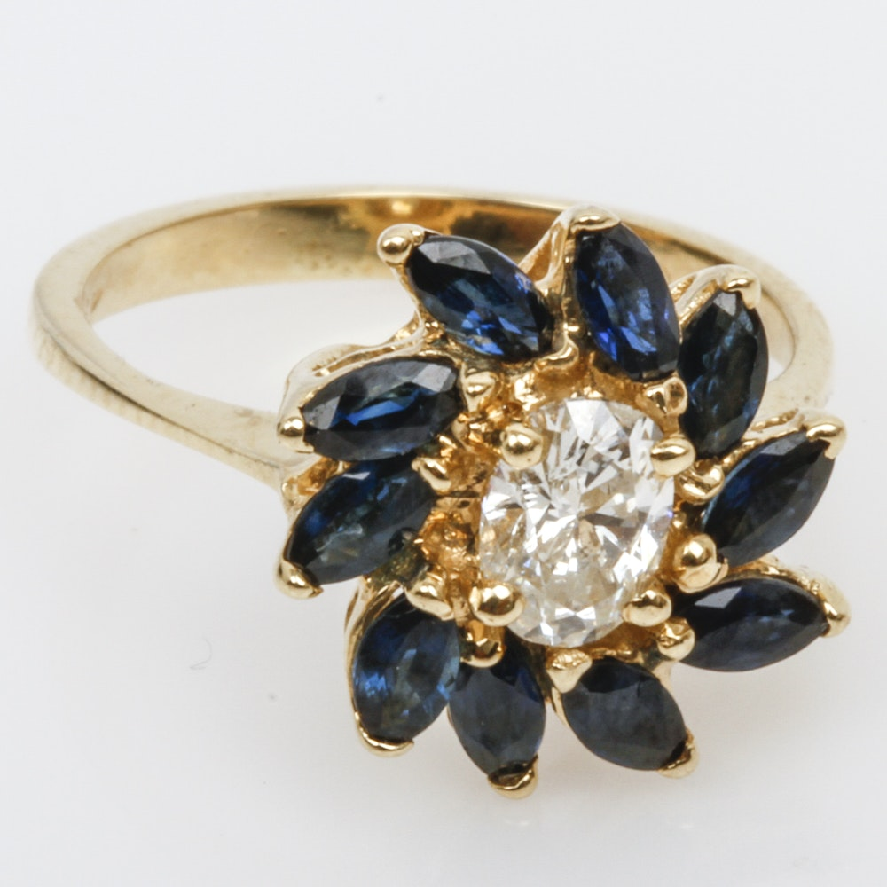 14K Yellow Gold, Diamond, and Sapphire Cocktail Ring