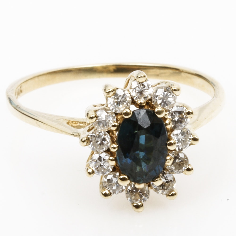 14K Yellow Gold, Sapphire, and Diamond Cocktail Ring