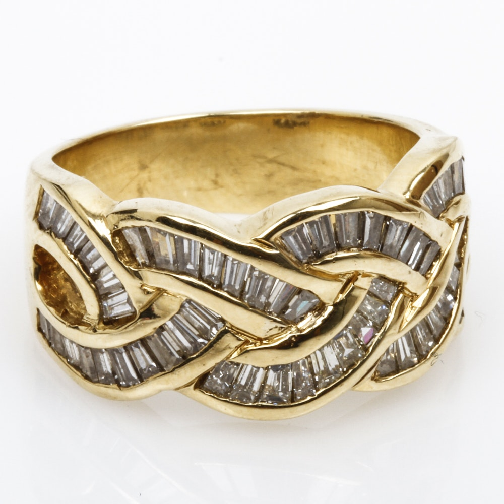 18K Yellow Gold and 2.20 CTW Baguette Diamond Crossover Ring