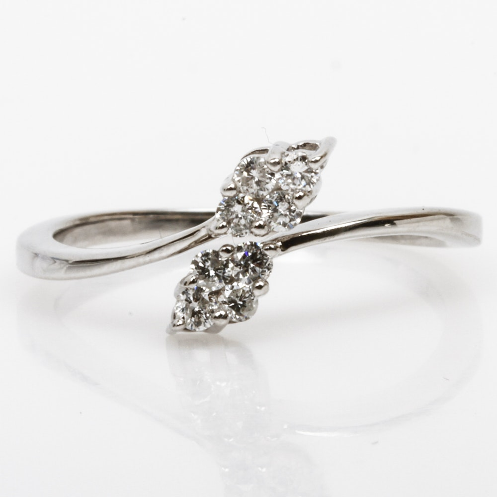 14K White Gold and Diamond Bypass Ring
