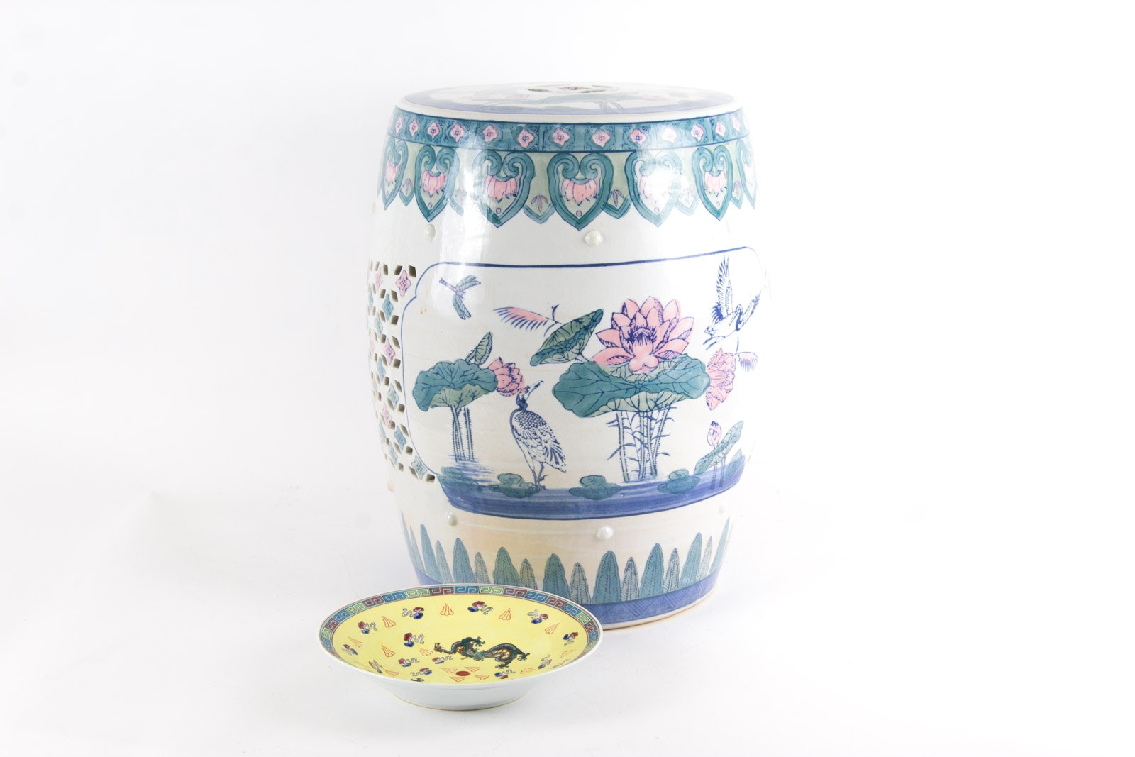 Chinese Hand Painted Garden Seat and Bowl