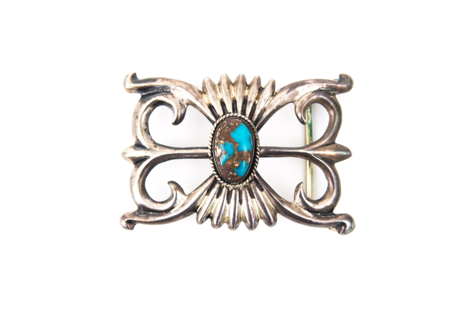 Sterling Silver and Turquoise Belt Buckle by Francis L. Begay