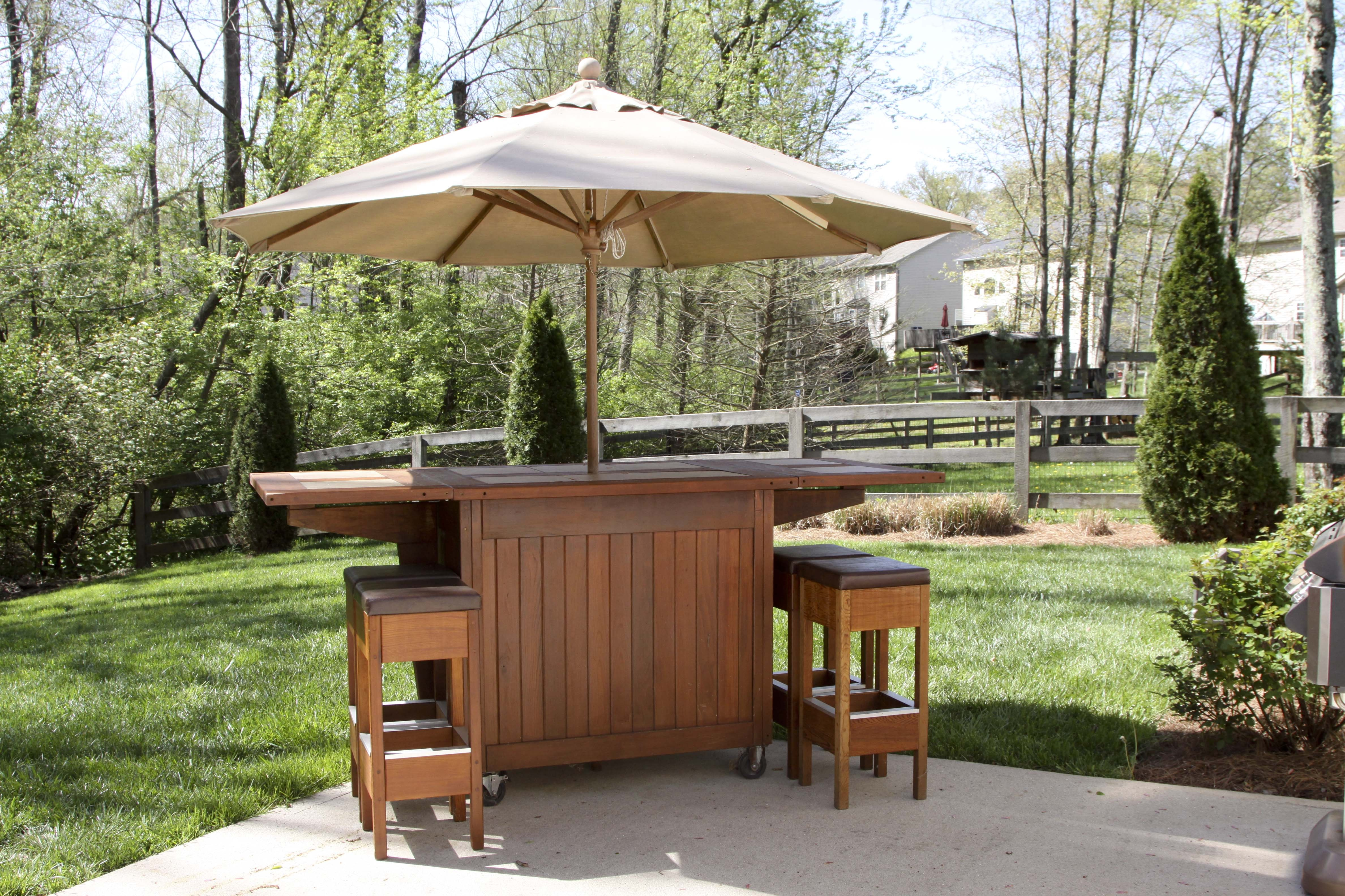 Wooden Outdoor Bar With Stools