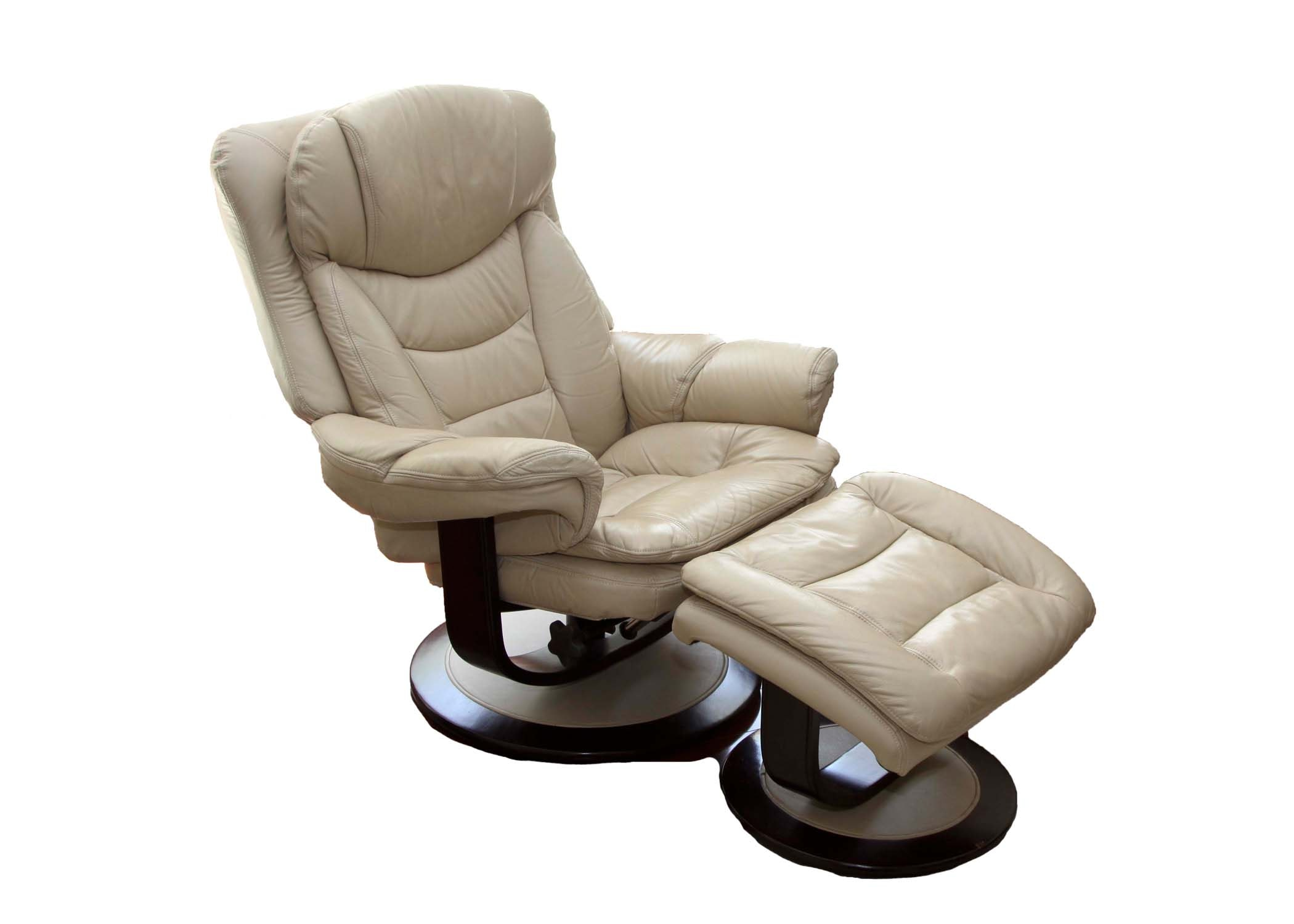 Contemporary Leather Recliner and Ottoman by Lane