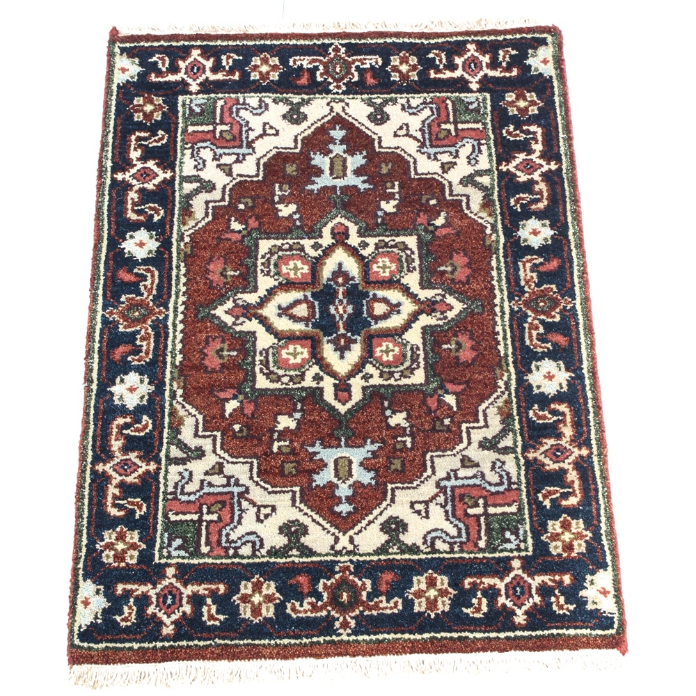 Hand Knotted Serapi Heriz Accent Rug