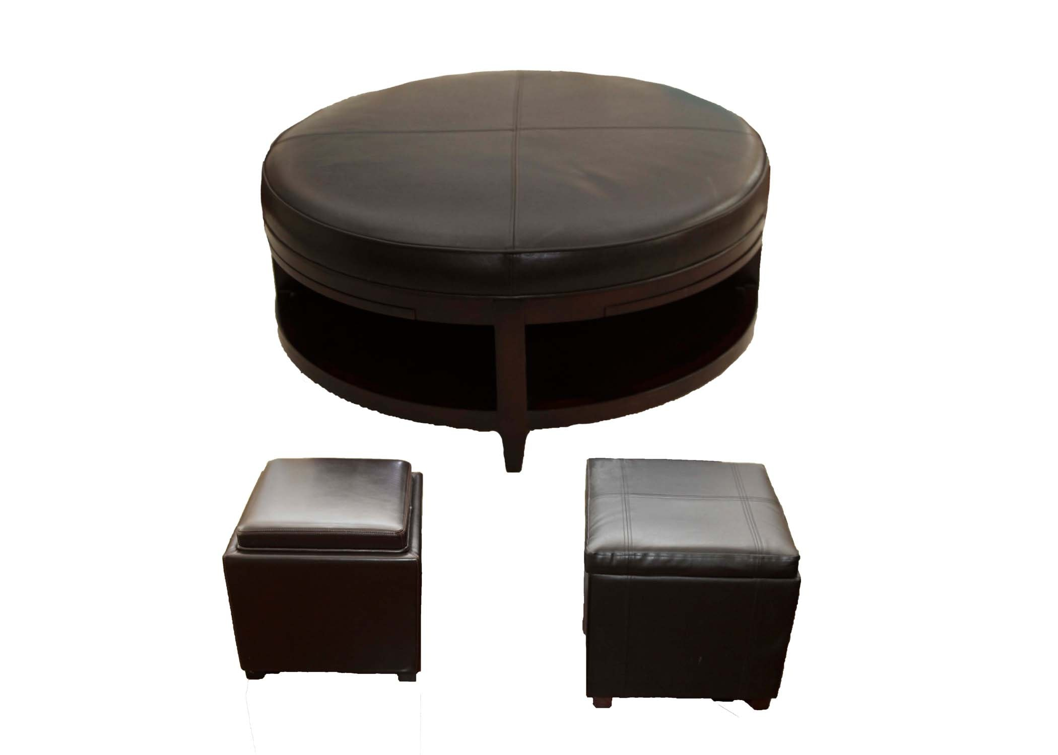 Coffee Table and Two Storage Ottomans