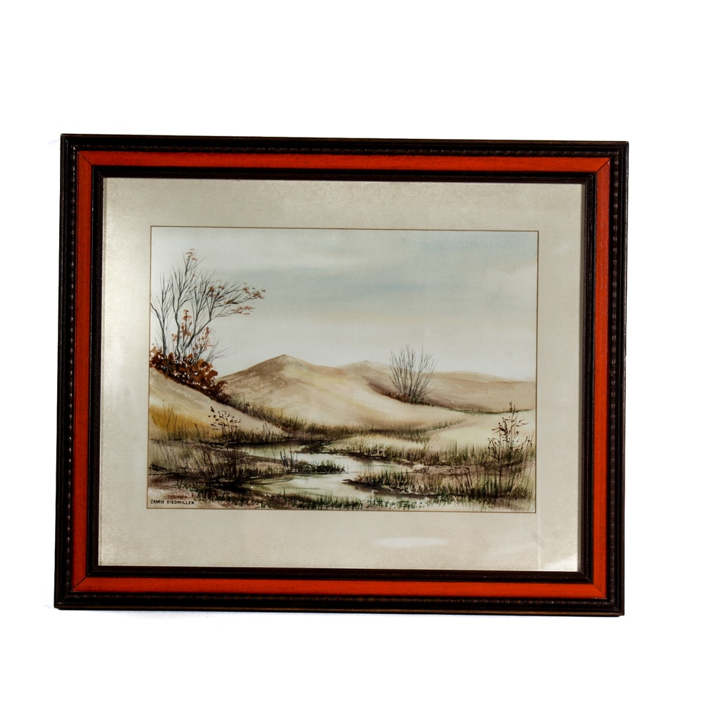 Charis Riedmiller Framed Watercolor Landscape