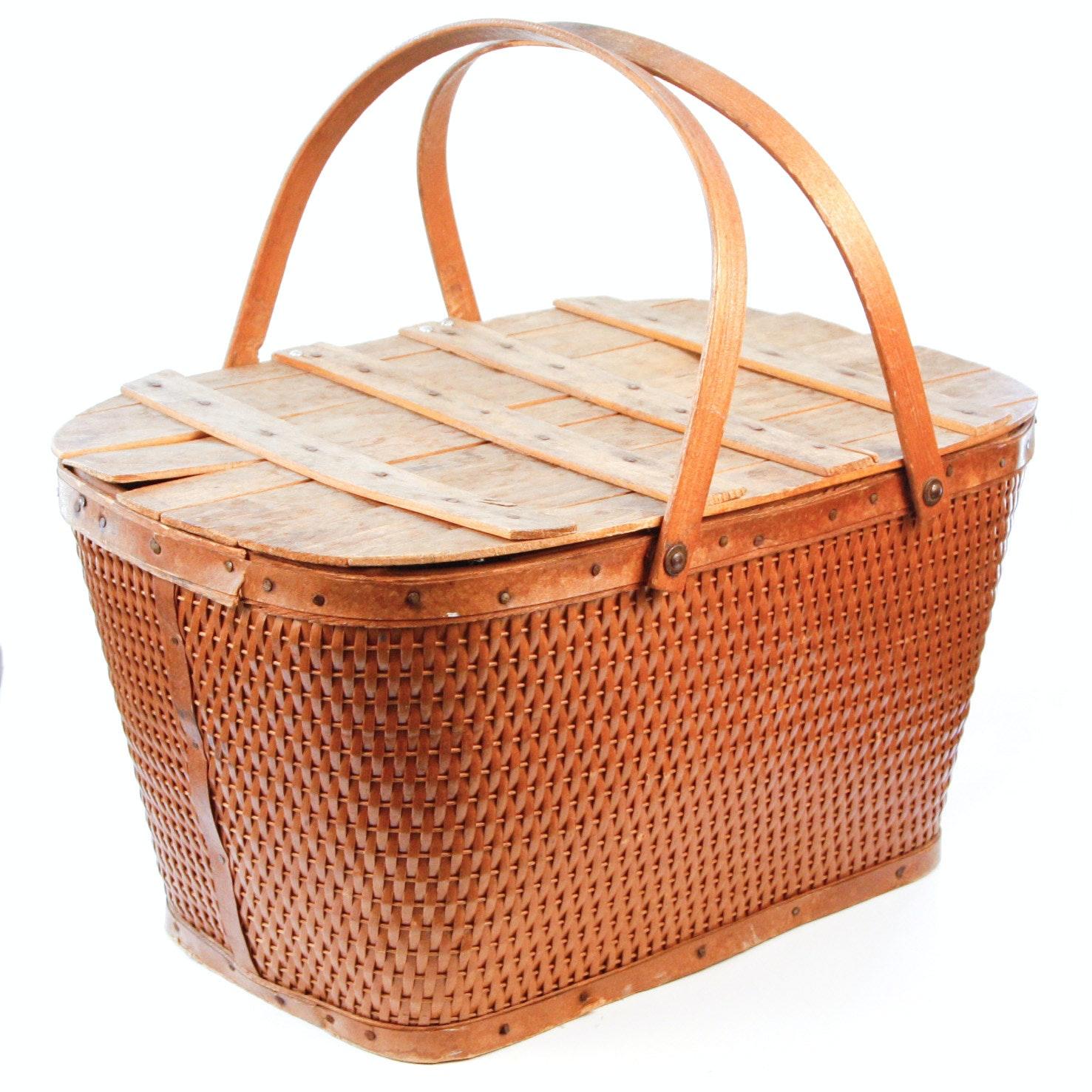 Vintage Handmade Picnic Basket