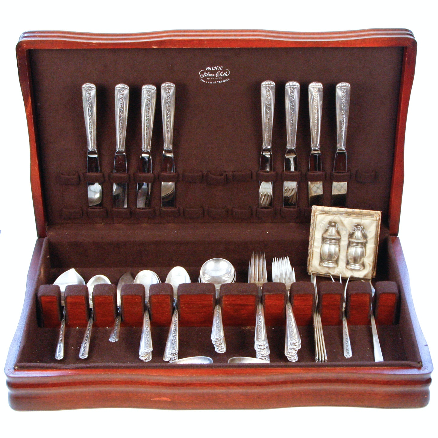 "Towle ""Rambler Rose"" Sterling Silver Flatware in Chest"
