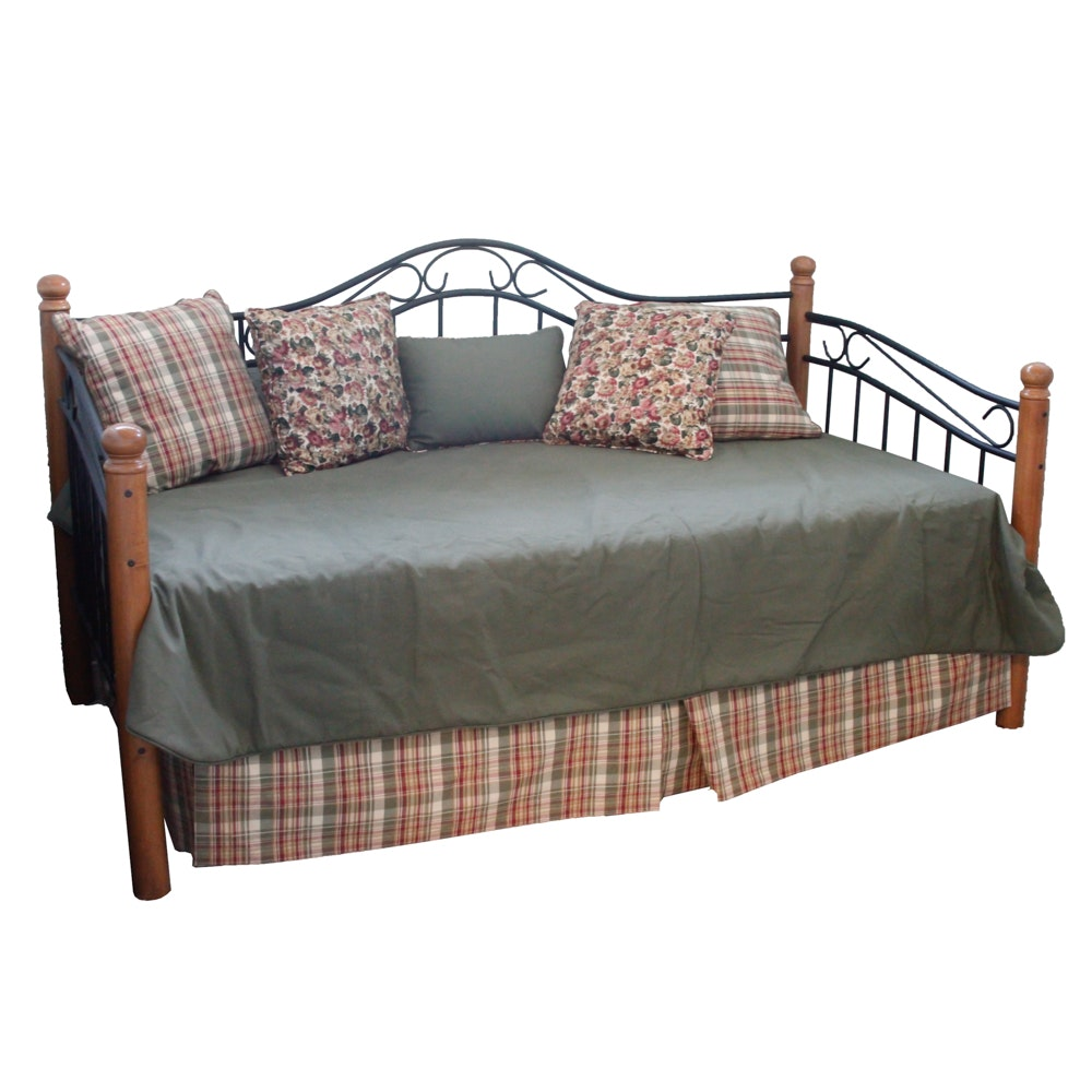 Twin Size Wood and Iron Daybed with Trundle and Mattresses