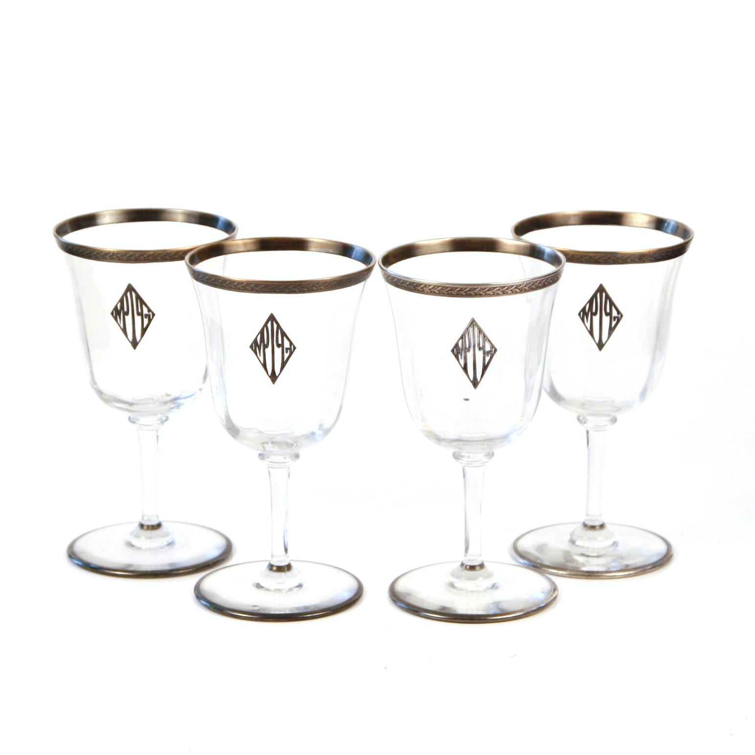 Set of Four Sterling Rimmed and Monogrammed Wine Glasses