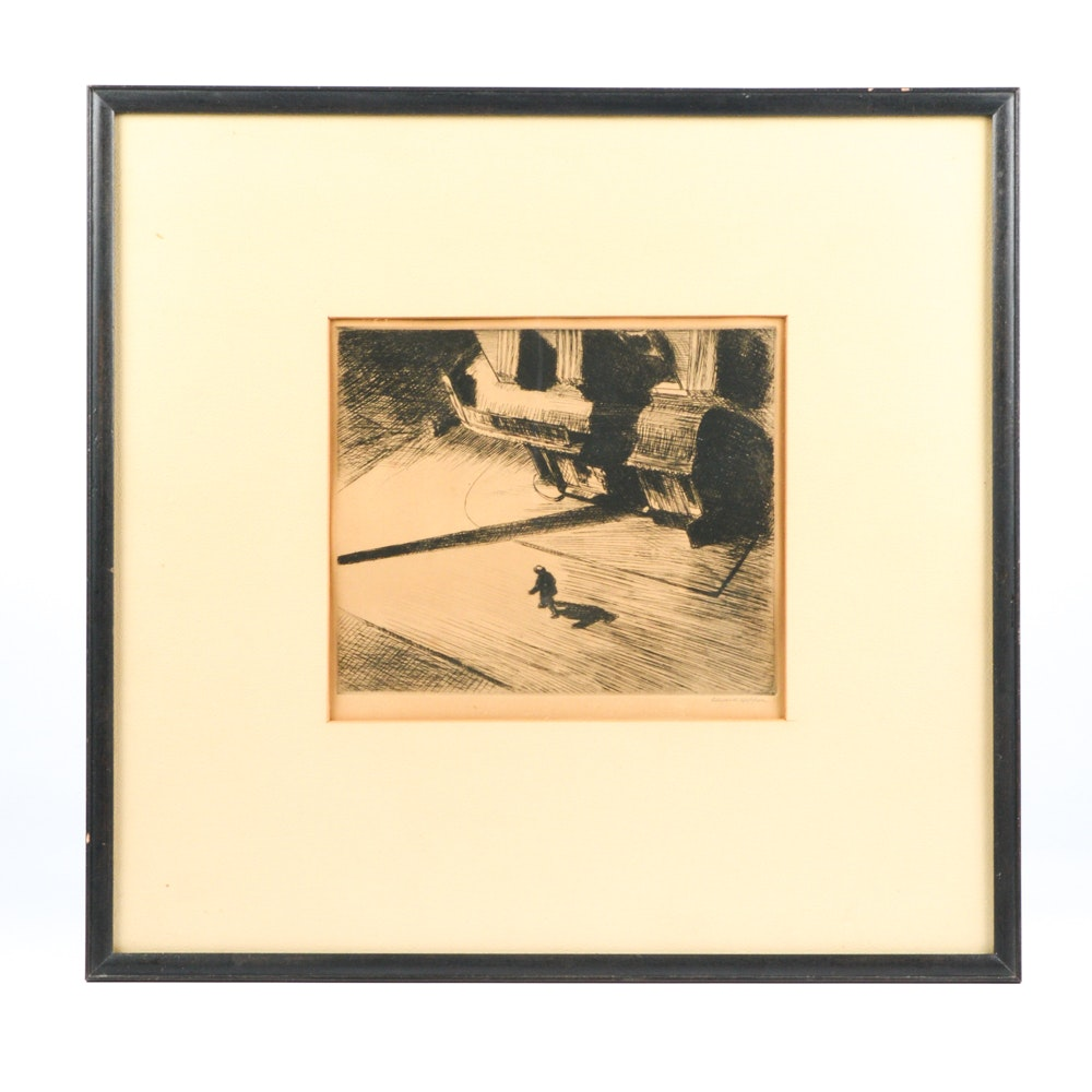 "Edward Hopper Original Signed Etching ""Night Shadows"""