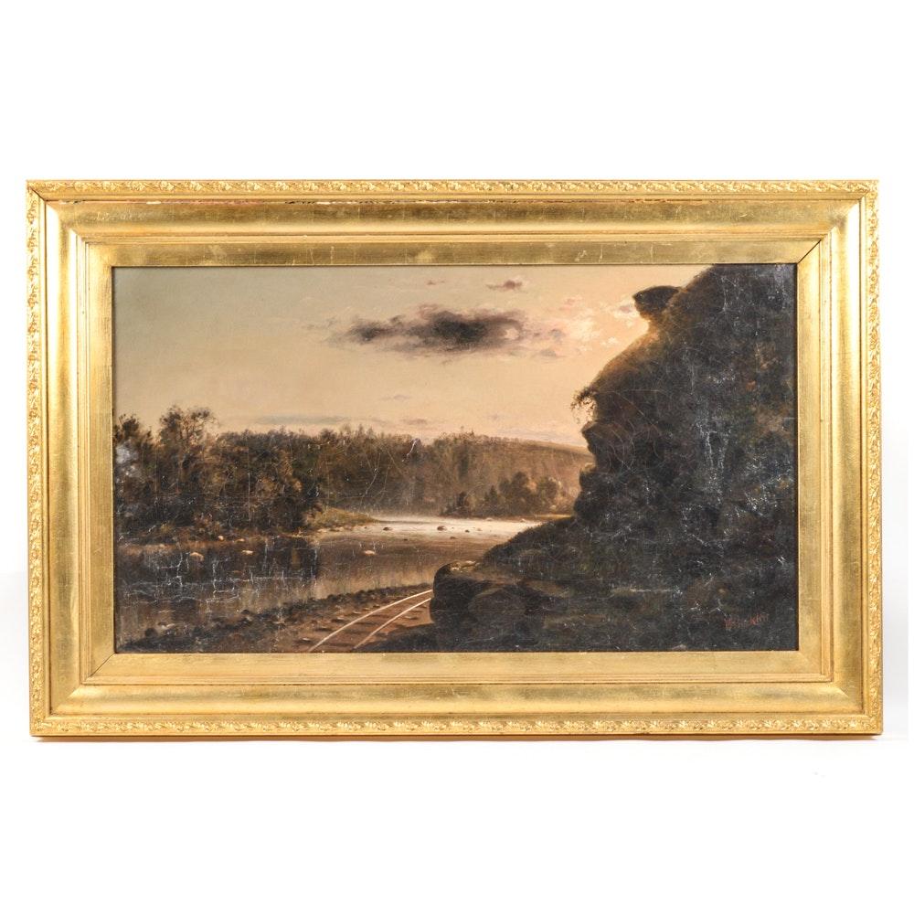 Bradley A. Bucklin Oil Painting of Hudson River School Landscape