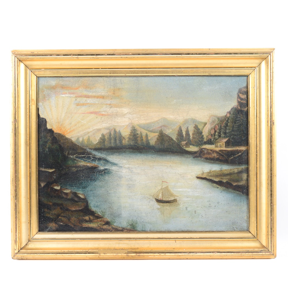 Antique Oil on Canvas Attributed to the Hudson River School