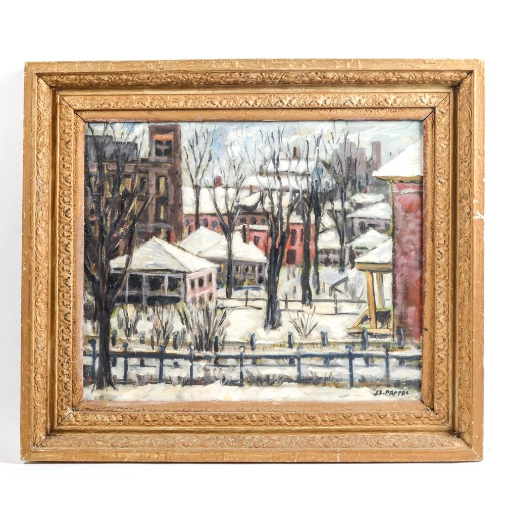 John L. Pappas Oil On Canvas of Winter Scene